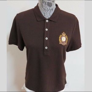 Sz M Brown Ralph Lauren Womens Cotton #62B Polo